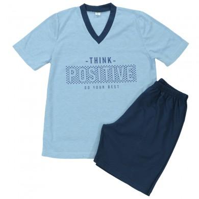 Мъжка пижама с къс ръкав, синя, Think Positive
