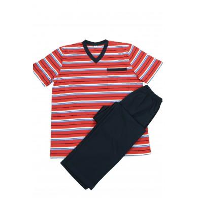 Мъжка пижама с къс ръкав и с дълъг панталон, червено/синьо райе