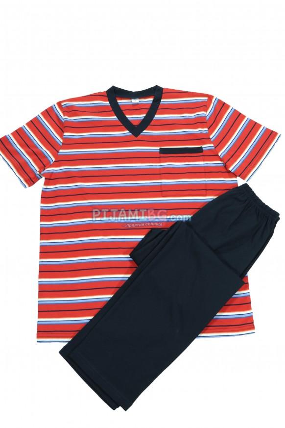 пижама за мъж - пролет/лято 2021, райе, червено/синьо, с дълъг панталон
