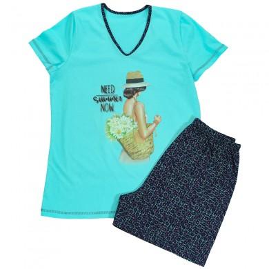 Дамска лятна пижама с къс ръкав, цвят Тюркоаз