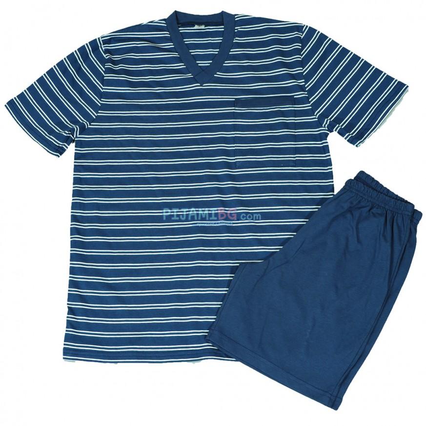 Мъжка пижама с къс ръкав и къс панталон, лятна, български производител