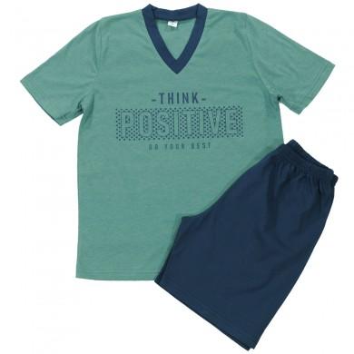 Мъжка пижама с къс ръкав, зелена, Think Positive