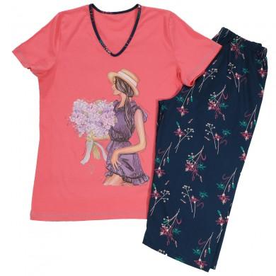 Дамска пижама с къс ръкав, цветя