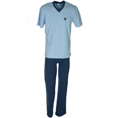 Мъжка пижама с къс ръкав и с дълъг панталон, синьо - светло и тъмно