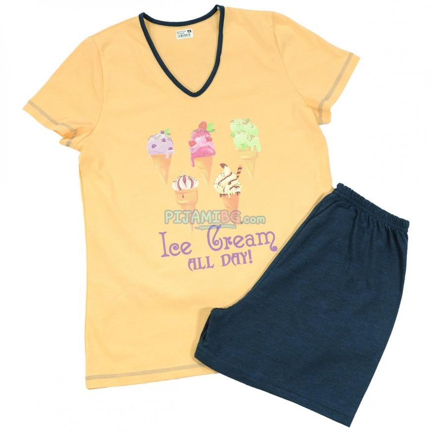 дамска пижама Прасковен цвят, лятна, памучна