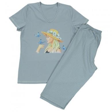Дамска лятна пижама с къс ръкав, сив цвят