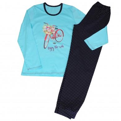 Дамска пижама с дълъг ръкав, цвят Тюркоаз