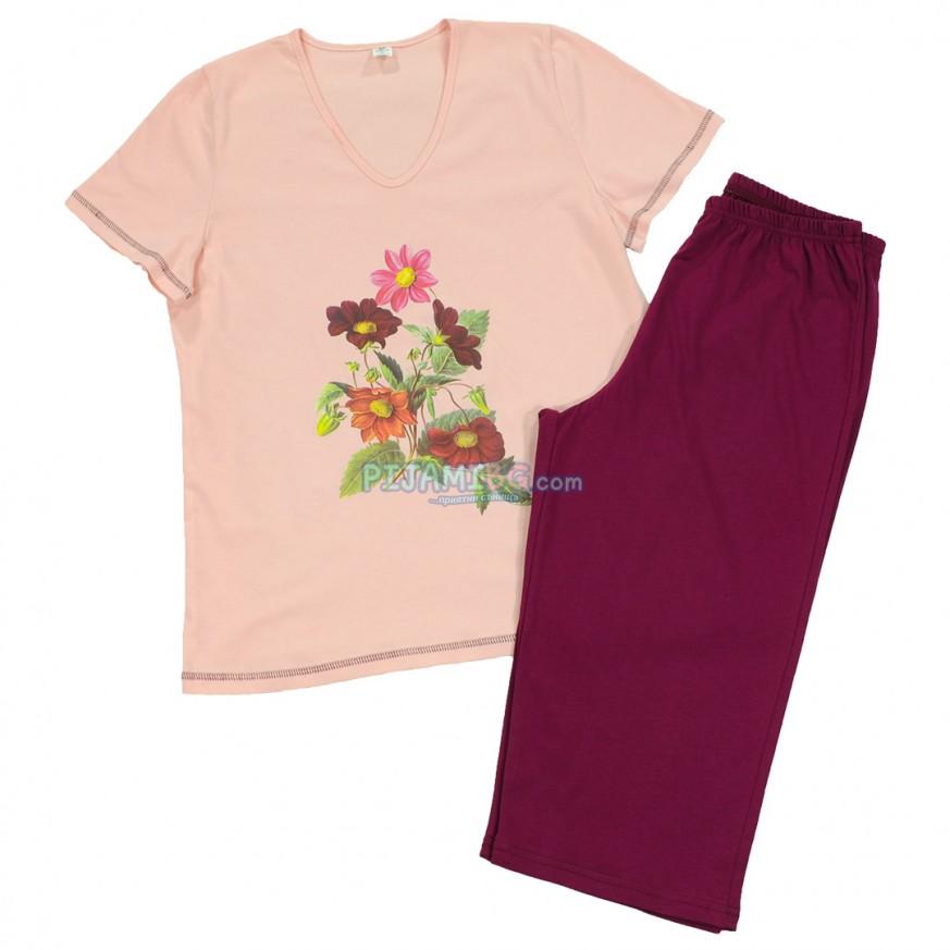 дамска пижама с къс ръкав и 7/8 панталон, Цветя, памучна