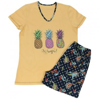 Дамска пижама с къс ръкав, цвят праскова, щампа - ананаси
