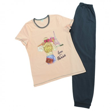 Дамска пижама с къс ръкав и дълъг панталон, цвят пудра/ графит