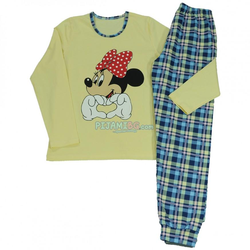 дамска пижама с дълъг ръкав и дълъг панталон, Мини Маус, любими герои