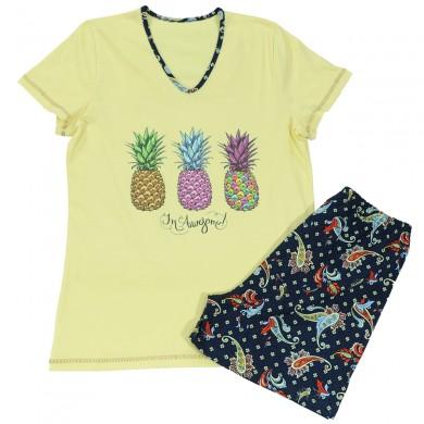 Дамска лятна пижама с къс ръкав, цвят бледо жълт, щампа - ананаси