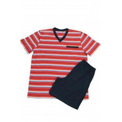 Мъжка пижама с къс ръкав, червено райе