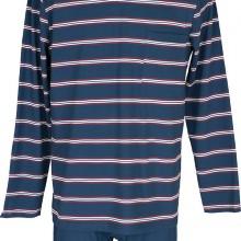 мъжка зимна пижама трико, синя, райе