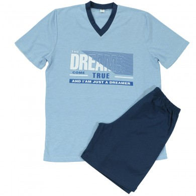 Мъжка пижама с къс ръкав и къс панталон, светло синя