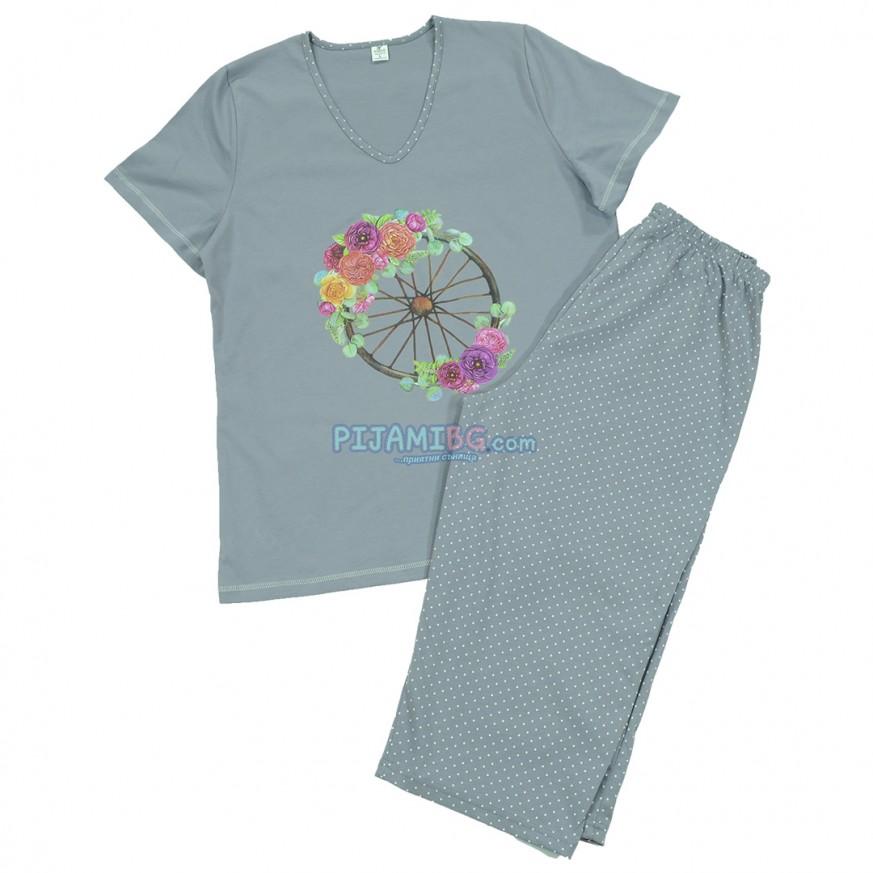 пижама с къс ръкав и 7/8 панталон, памучна, с цветя