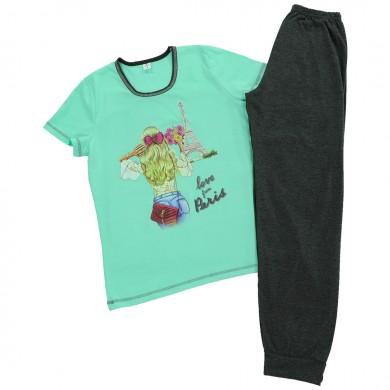 Дамска пижама с къс ръкав, цвят мента/ графит