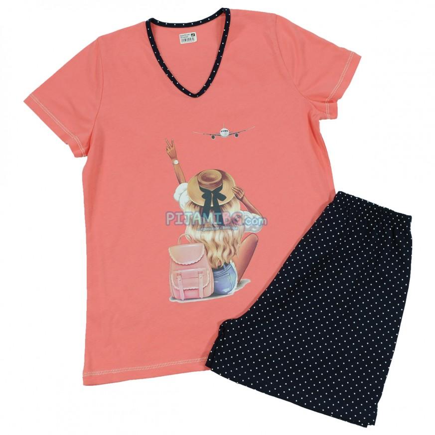 дамска лятна пижама, къса, пениран памук, цвят Нар