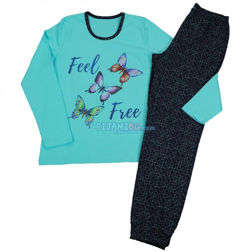 дамска памучна пижама, зимна, цвят тюркоаз, пеперуди