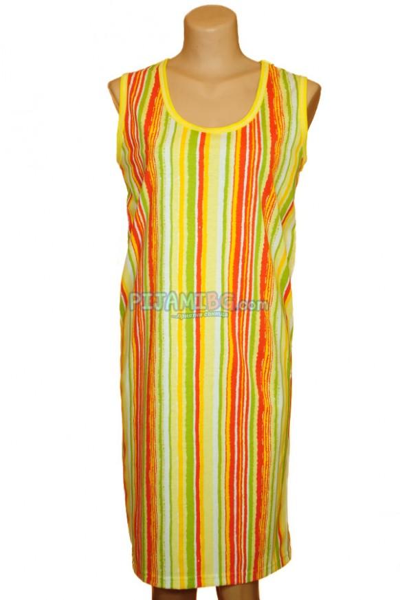 Дамска лятна рокля без ръкав, райе - жълто, оранжево, зелено, бяло. Златев