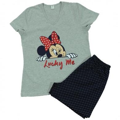 Дамска пижама с къс ръкав и с къс панталон, сива
