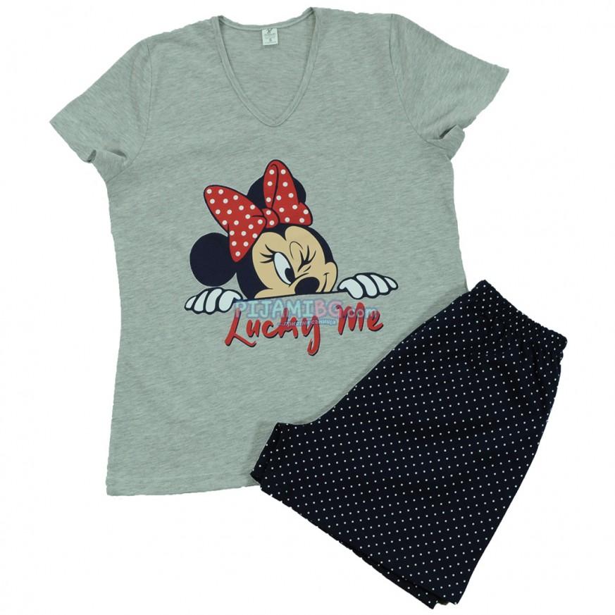 дамска пижама с къс ръкав и с къс панталон, лятна, памучна, Мини Маус, къси панталони