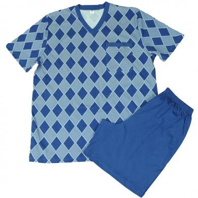 Мъжка пижама с къс ръкав и с къс панталон, ромб в син цвят