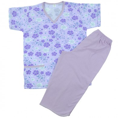 Дамска пижама с къс ръкав, лилава, на цветя