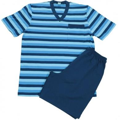 Мъжка пижама с къс ръкав и с къс панталон, син цвят, райе