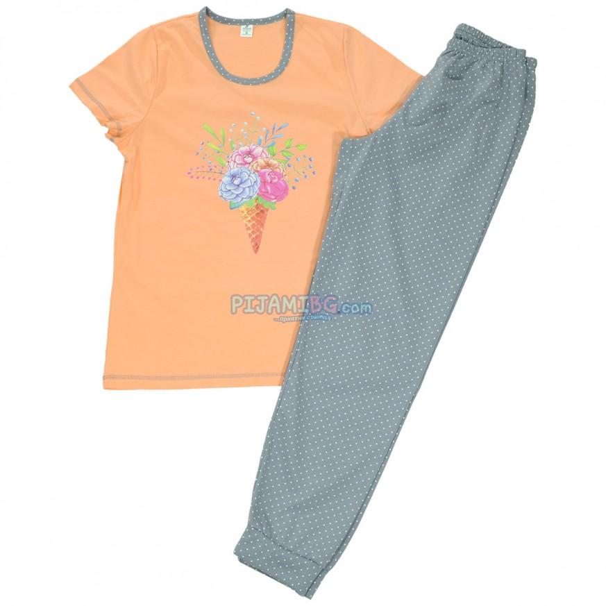 дамска пижама трико за есента дълъг панталон къс ръкав, Праскова/сиво
