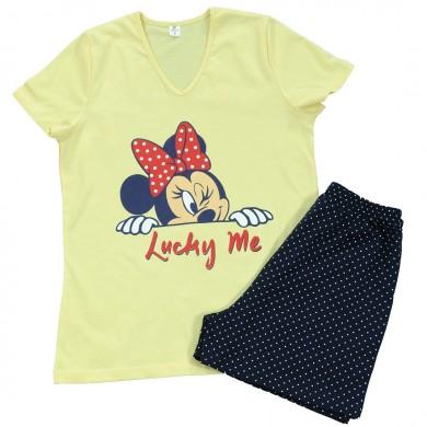 Дамска пижама с къс ръкав и с къс панталон, жълт цвят