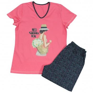 Дамска лятна пижама с къс ръкав, цвят Нар