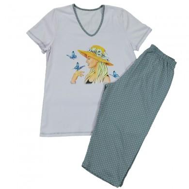 Дамска пижама с къс ръкав, лилав - сив цвят