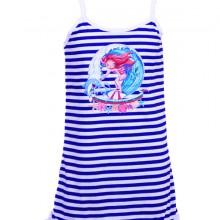 детска рокля с тънка презрамка, райета, с щампа, тънка презрамка