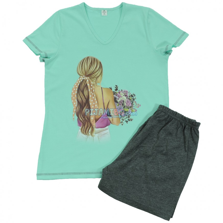 дамска пижама с къс ръкав и къс панталон, цвят мента