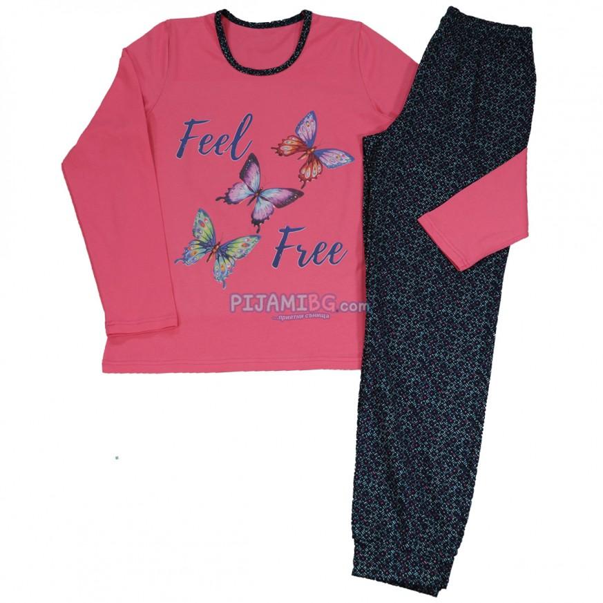 дамска памучна пижама с дълъг ръкав
