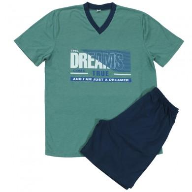 Мъжка пижама с къс ръкав и къс панталон, маслено-зелена