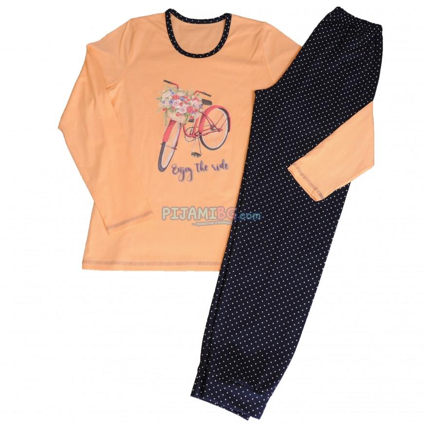 дамска памучна пижама за есенно-зимния сезон, цвят Праскова, Златев български производител