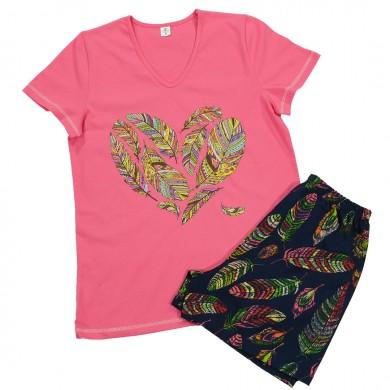 Дамска пижама с къс ръкав и къс панталон, цвят циклама