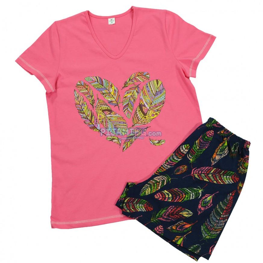 пижама с къс ръкав и къс панталон, цвят циклама, размери S, M, L, XL, макси размер XXL