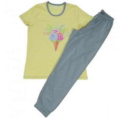 Дамска пижама трико, с къс ръкав и дълъг панталон - бледо жълто и сиво