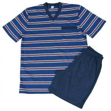 Мъжка пижама с къс ръкав, син цвят, райе