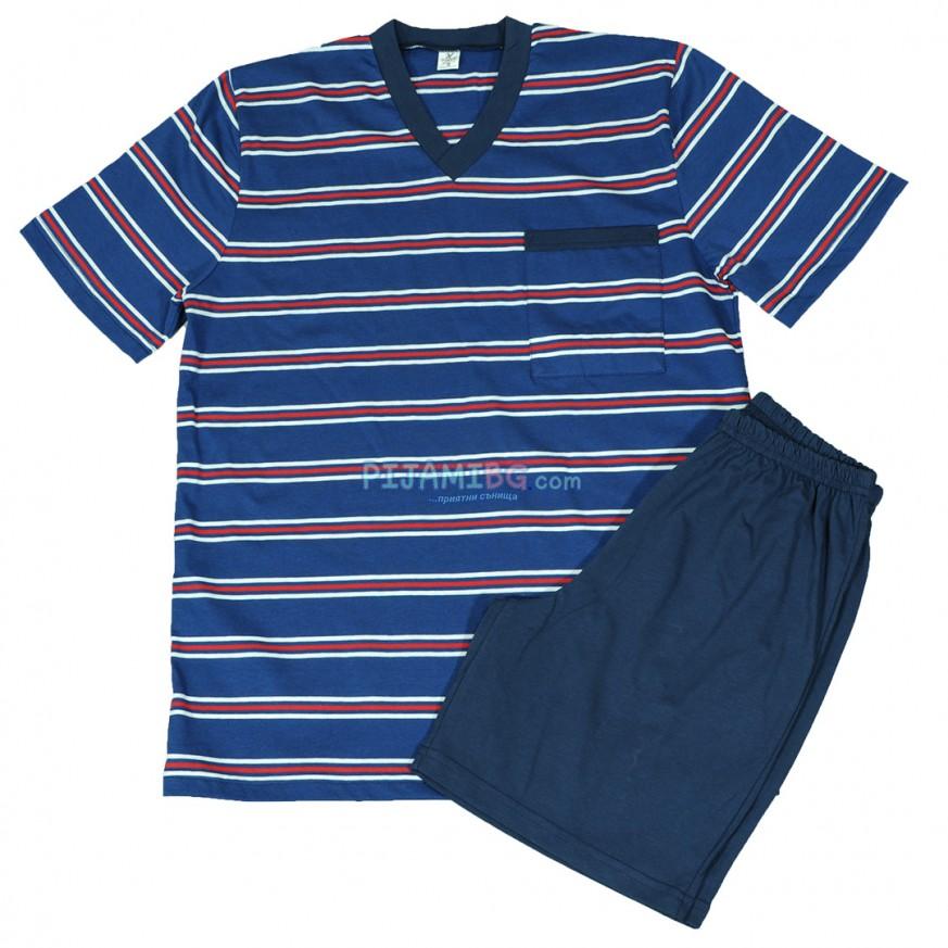 Мъжка пижама с къс ръкав и къс панталон, синя, райе