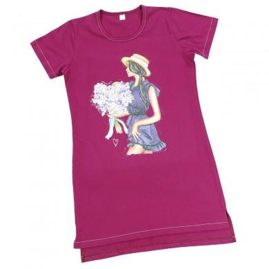 Дамска рокля - трико с къс ръкав, цвят Малина