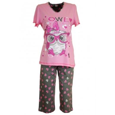Дамска пижама с къс ръкав Бухал