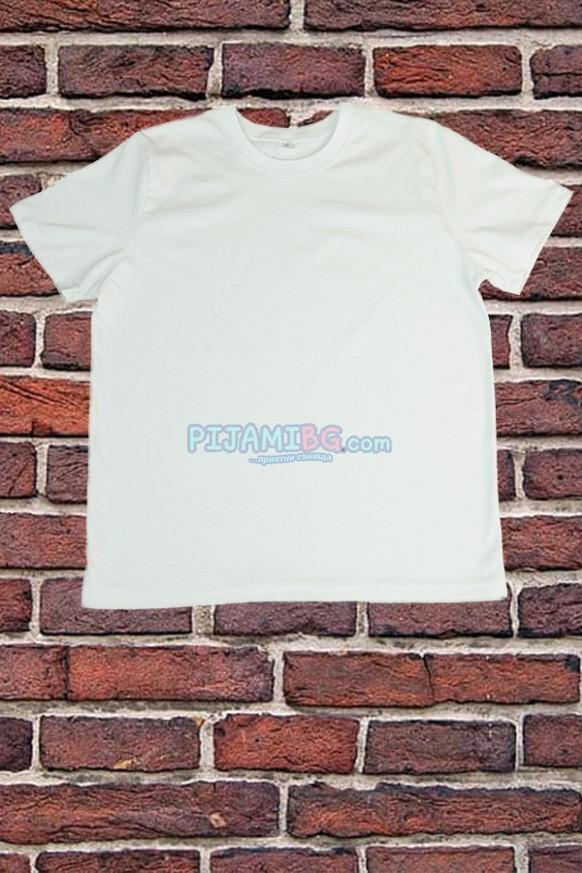 чисто бяла тениска с къс ръкав - за училище, спорт, физическо
